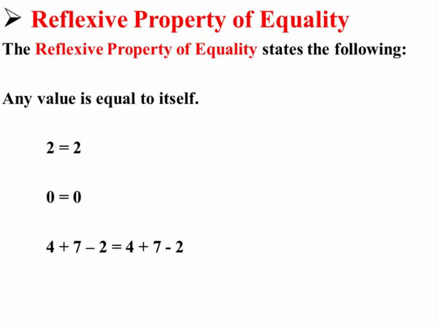 Reflexive Property Of Equality
